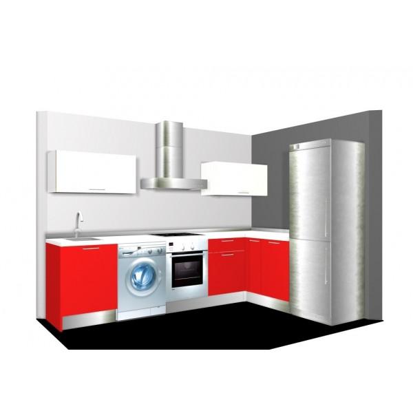 Diseño de cocina tamaño estándar en L con colores brillo