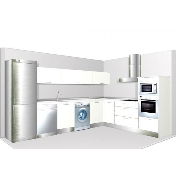 Dise o de cocina grande en l en colores mate - Cocinas pequenas en l ...