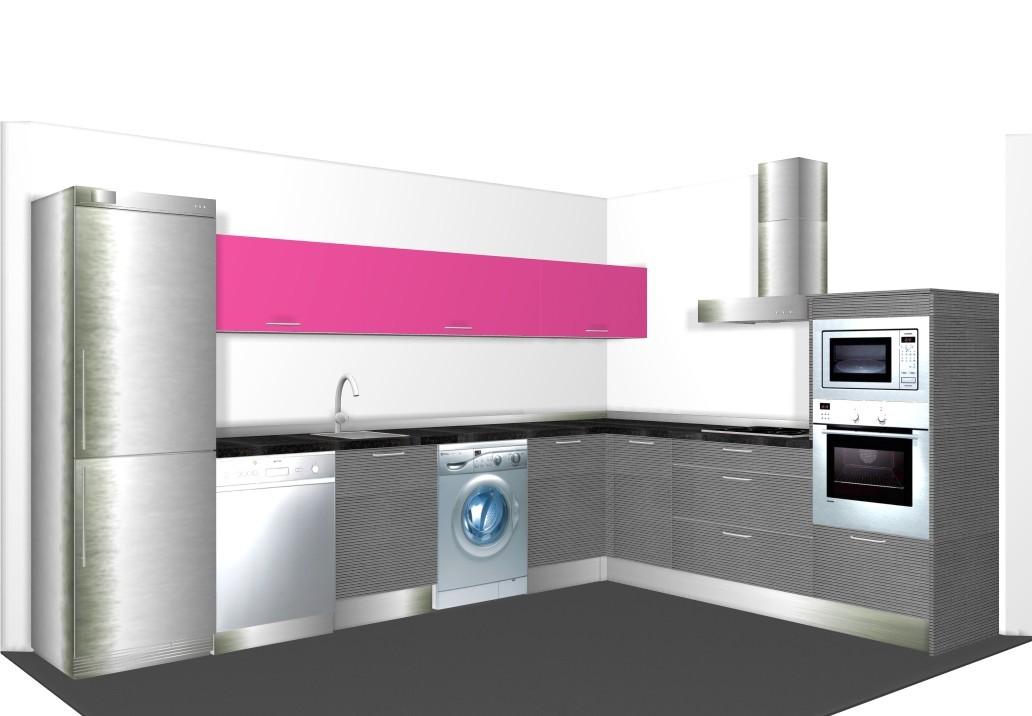 Diseño de cocina grande en L en colores brillo y mate